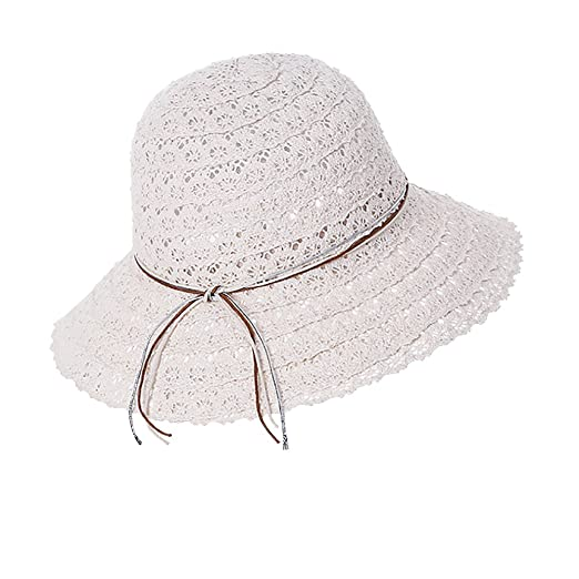 ec75405905d Hjuns Womens Spring Summer UV Protection Straw Hat Cotton Mesh Foldable  Wide Brim Travel Beach Cap
