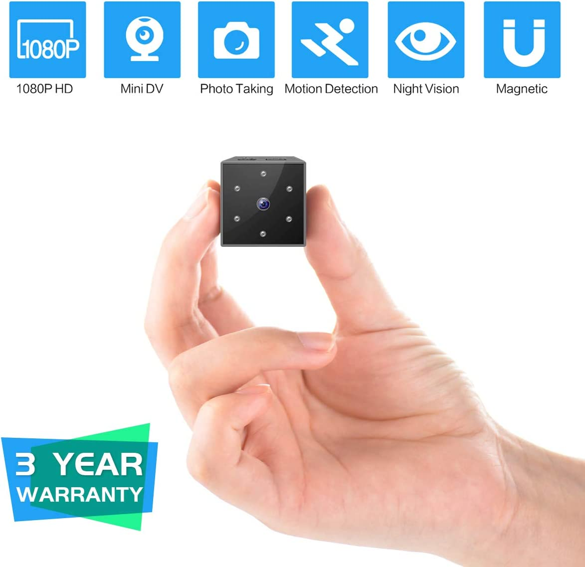 Mini Spy Camera, FayTun 1080P Full HD Hidden Camera, Mini Nanny Camera with Night Vision and Motion Detection for Home Car Office Pet and Outdoor Sports