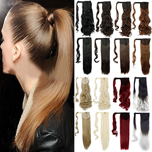 FUT 3-5 Days Delivery 24inch 90g Straight Wrap Around Ponytail Clip in Pony Tial Hair Extensions for Girl Lady Women Black To Silver Grey