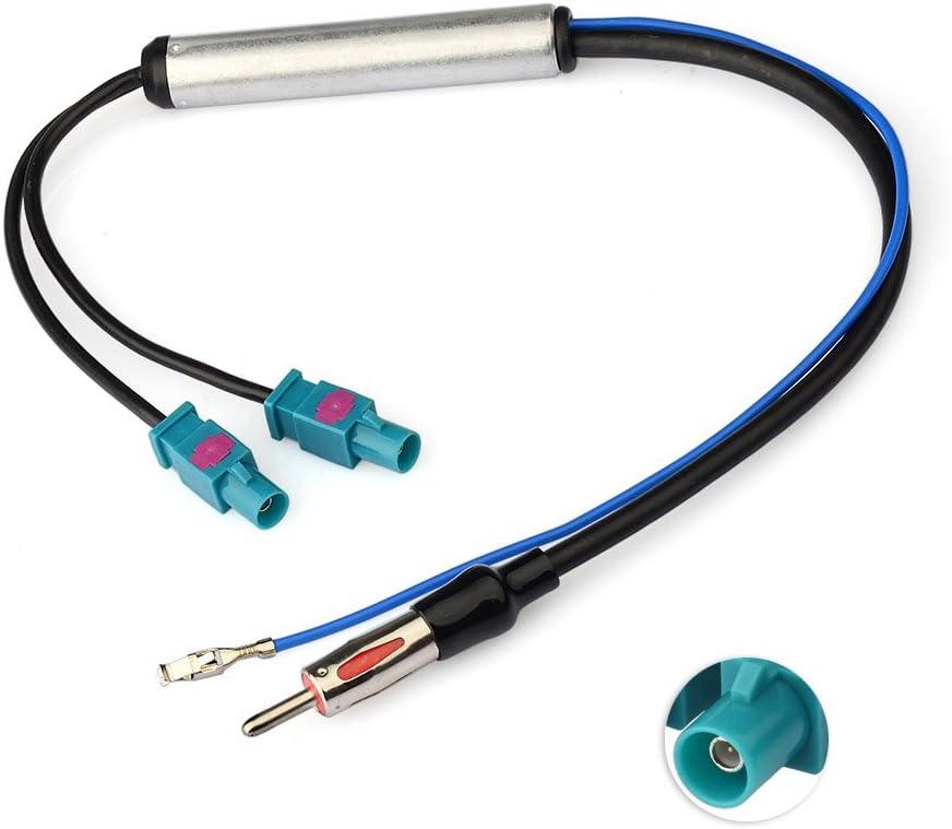 Eightwood Antena Dab Am/FM Adaptador DIN Fakra Z Enchufe Dab Doble Divisor con Amplificador Cable de Alimentación 30cm para Radio Aficionado Blaupunkt ...