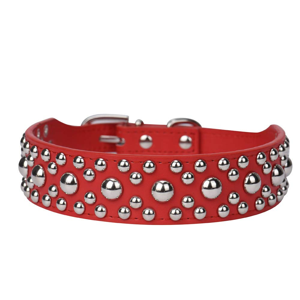Adjustable Leather Rivet Mushroom Studded Pet Puppy Small Dog Collar Neck Strap Collar Cute Substrate Pet Collar Puppy Choker Cat Necklace Costumes Outdoor Collar Leather Collar Dress Up (Red, S)