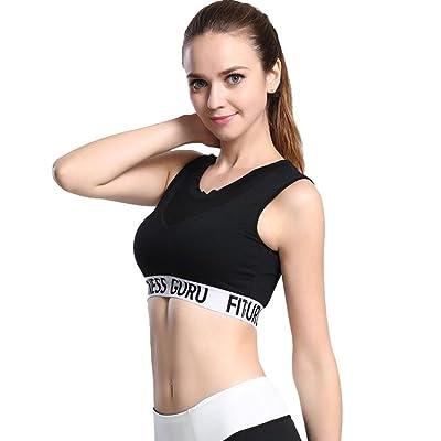 EGINENG Women Mesh Patchwork Fitness Workout Running Gym Shockproof Yoga Sports Bras