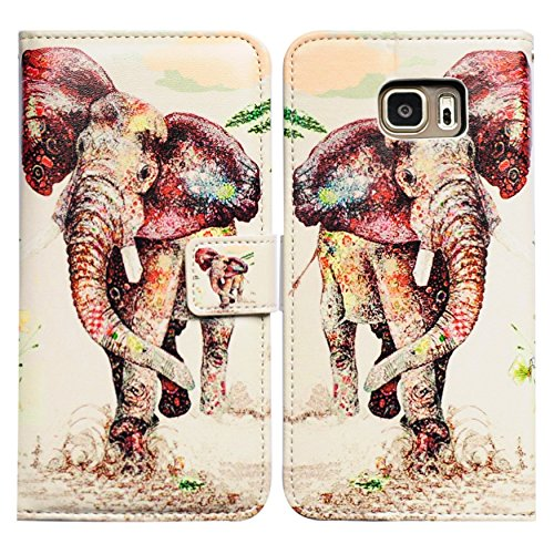 Galaxy S7 Edge Case, Bfun Packing Bcov Elephant Pattern Leather Wallet Cover Case For Samsung Galaxy S7 Edge