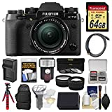 Fujifilm X-T2 4K Wi-Fi Digital Camera & 18-55mm XF Lens with 64GB Card + Case + Flash + Battery & Charger + Tripod + Tele/Wide Lens Kit