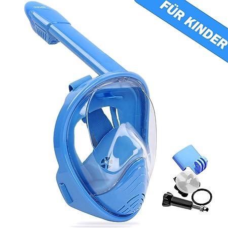 OCEVEN 180°Vollgesichts-Schnorchelmaske Easy Breath Anti-Fog/Anti-Leak Schnorchelmaske mit Verstellbaren Kopfbändern, mit Län