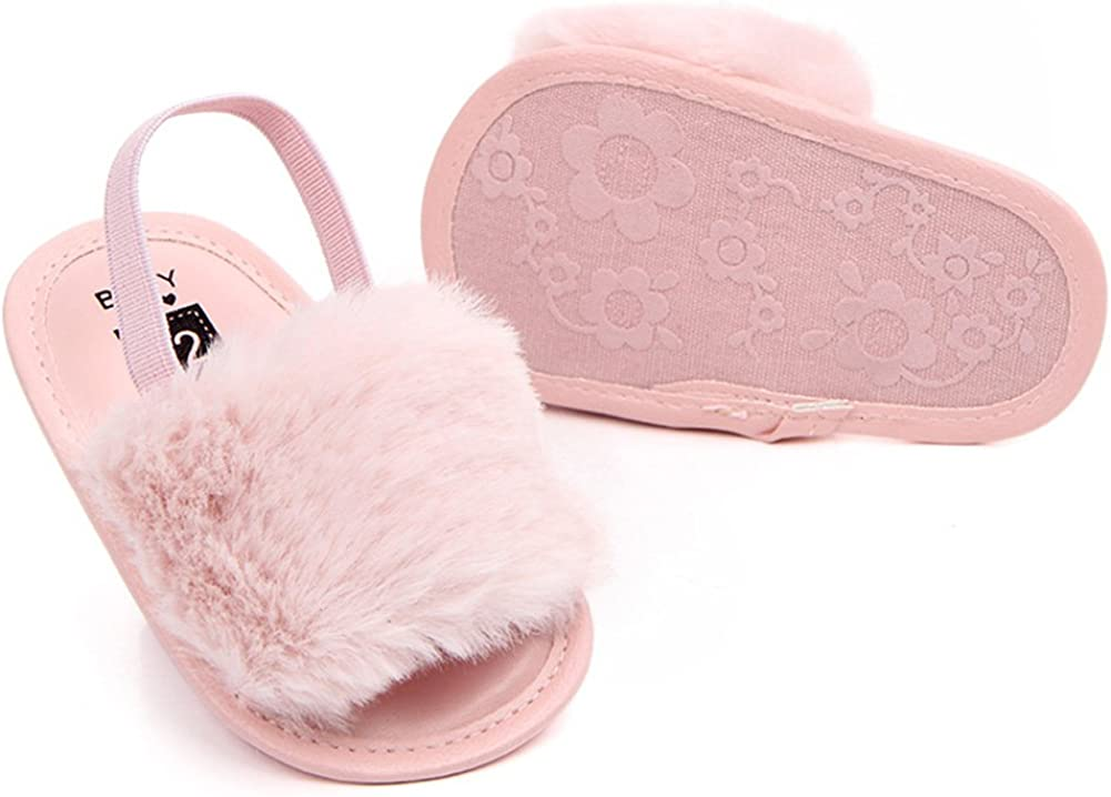 Pink 13CM Elastic Band PU Baby Soft-soled Summer Shoes Cute Infant Baby Sandals Slippers