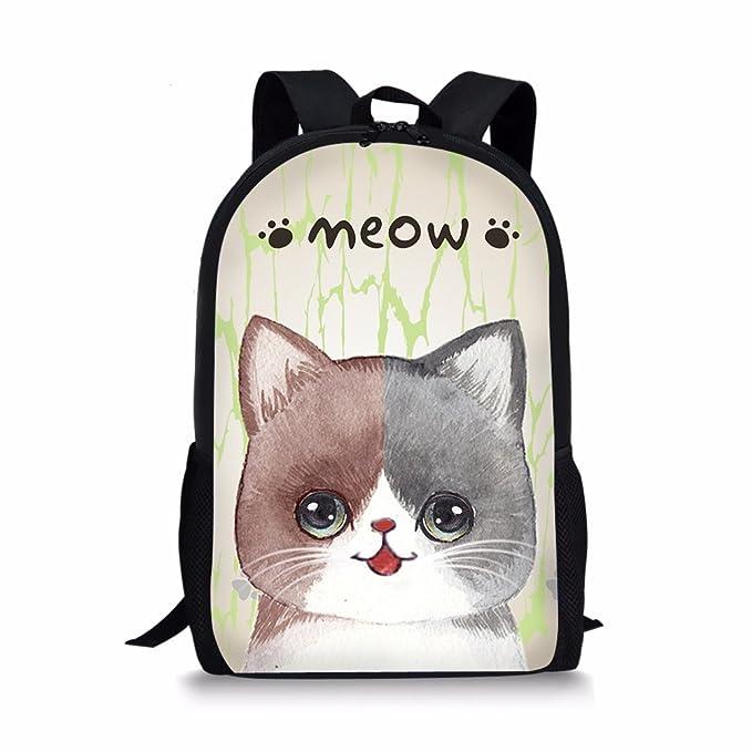 1f9d3fbaa3 Adorable Cat Meow Print Backpack for Girls Kids Picnic Camping Bagpack