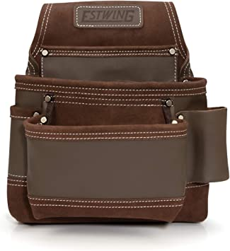 Estwing 94746 14-Pocket Leather Framer/'s Tool Belt Pouch Apron Set