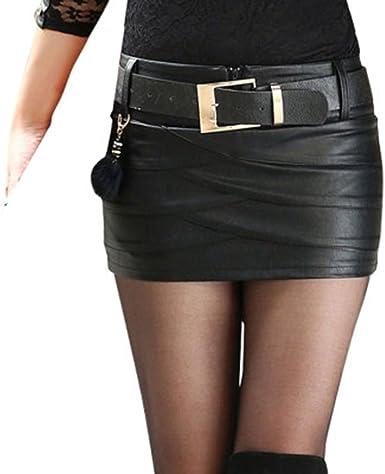 Hongxin Mujeres Mini Falda de Cuero de la PU de Fresca Cintura ...