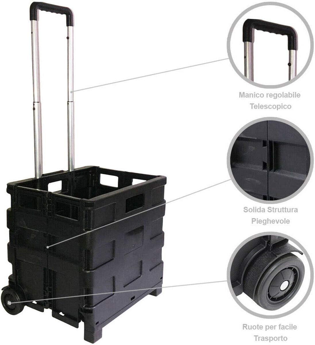 Rollwagen Multiuso faltbar KINZO 2 R/äder Griff f/ür Einkaufen und Camping