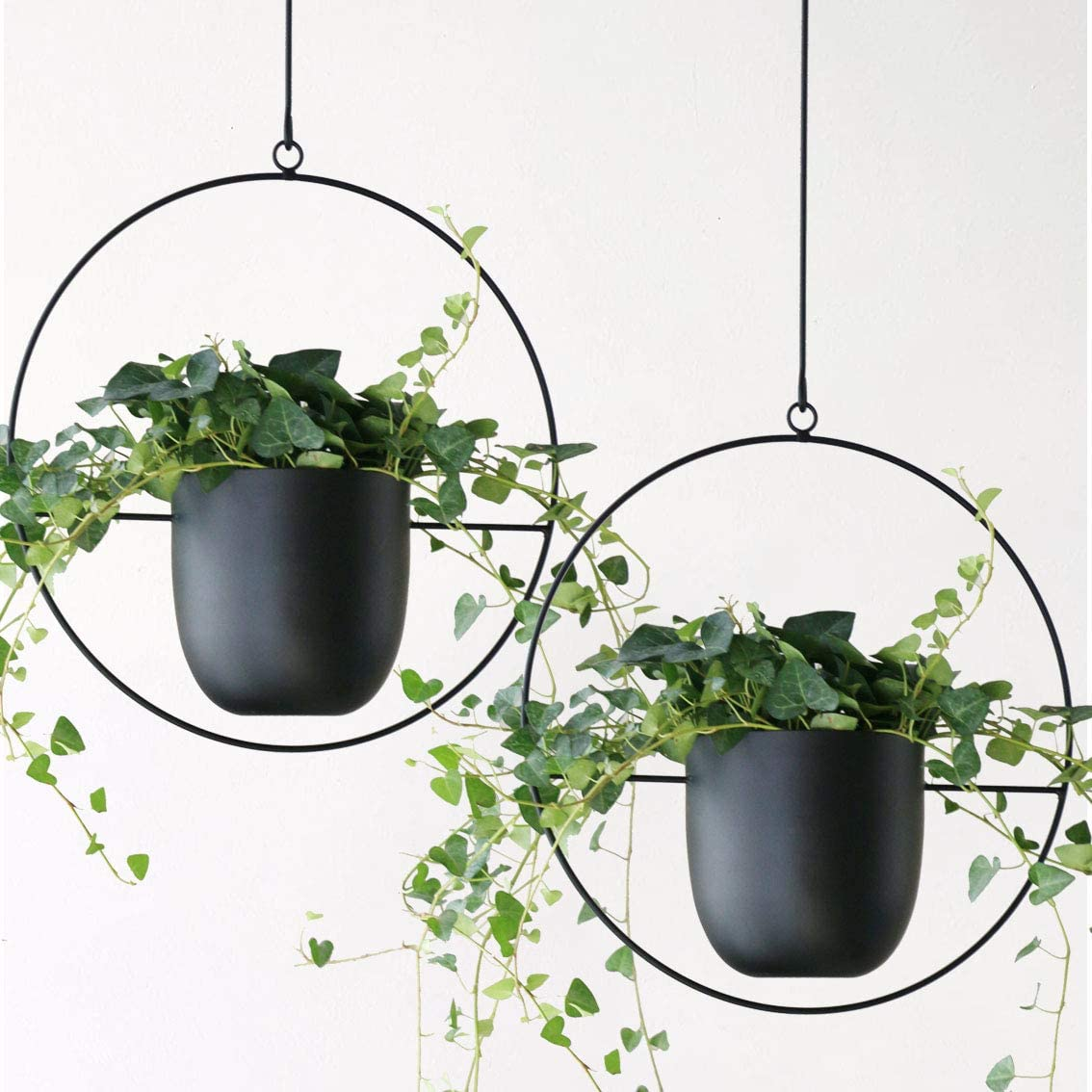 Abetree 2 Pcs Boho Metal Hanging Planters for Indoor Plants with Hooks Modern Wall and Ceiling Planter Mid Century Minimalist Flower Pot Hold Planter for Outdoor Plants Home Decor ,Black