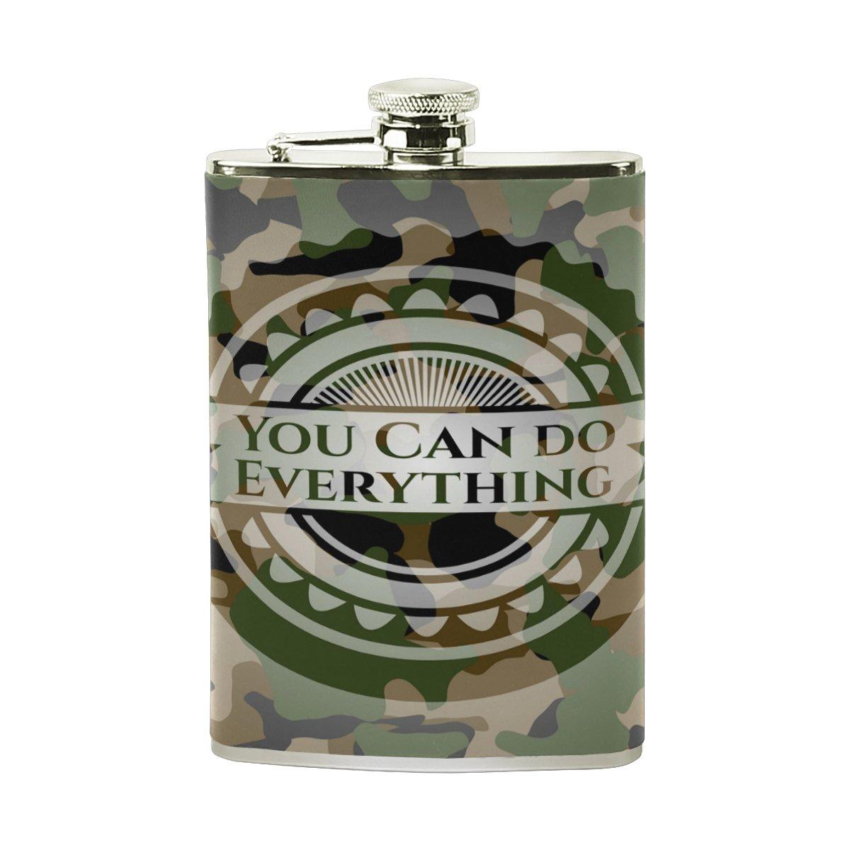 格安人気 Alaza You Can Can Do Everything迷彩ヒップフラスコステンレススチール8オンスポケットショットのフラスコLiquor Whiskey VodkaラムPUレザーWrapped You 100 % 100 Leak Proof B075ZRZMWK, 厨房1番:7544d0b1 --- a0267596.xsph.ru