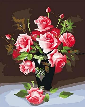 Amazon.com: Rose flower vase-DIY Painting by number kits oil ... on painting lamp, painting angel, painting poppies, painting summer, painting self portrait, painting interior, painting butterfly, painting autumn, painting flower pot, painting sunflowers, painting candles, painting nocturne, painting garden, painting plants, painting bird, painting books, painting baskets of flowers, painting blue vase with flowers, painting tulips, painting dish,