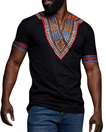 2fe0506f9da Men Dashiki Shirts African Print Short Sleeve Graphic Tops V Neck Fashion T- Shirt Black