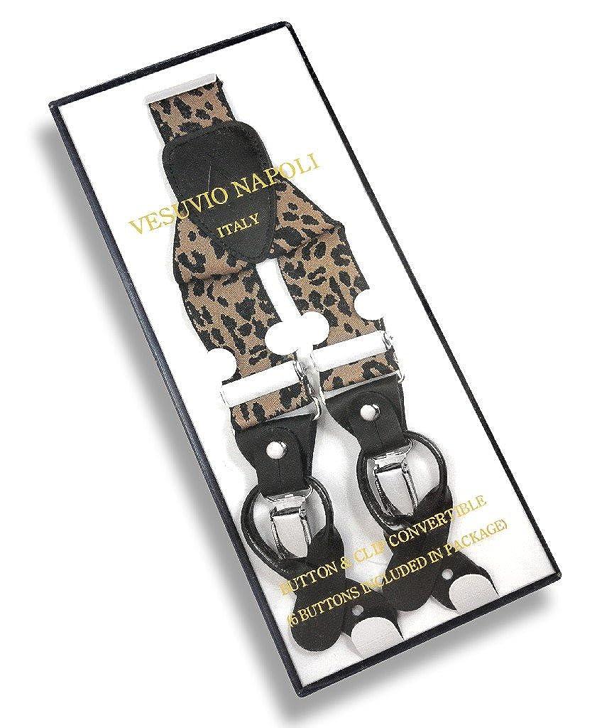 Mens LEOPARD Print SUSPENDERS Y Shape Back Elastic Button /& Clip Convertible