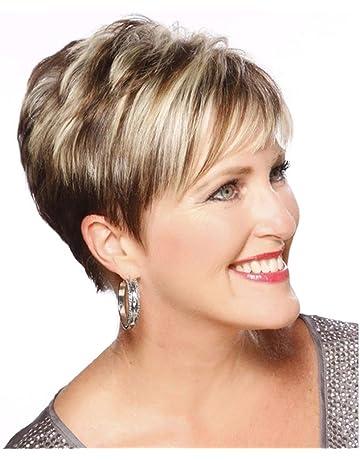 Fleurapance - Pelucas de pelo humano para mujer, cortas y muy naturales, estilo Bobo