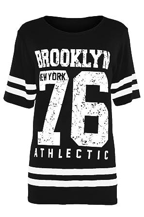 Fashion Star Kids USA American Varsity Baseball Slim Fit Brooklyn 76 Cap  Sleeve T Shirt Top  Amazon.co.uk  Clothing 1af0a25166c