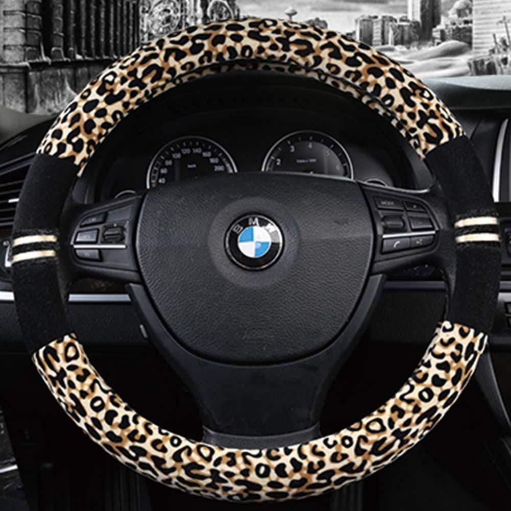 TRULIL Universal Car Steering Wheel Cover Sleeve Glove Winter Warm Soft Steering Wheel Leopard Print Fashion Plush Universal Fit 38cm