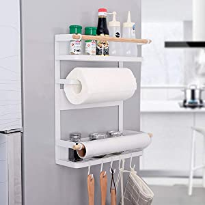 SHE'S HOME Magnet Kitchen Spice Rack Organizer for Refrigerator Storage Shelf Paper Towel Holders Backing 6 Hooks White