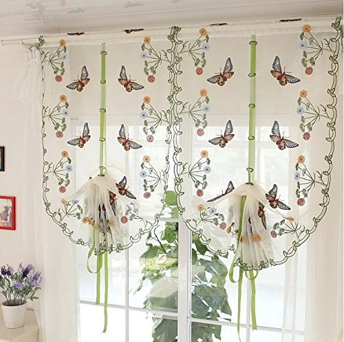WPKIRA Fresh Butterfly Embroidered Roman Curtain Balloon Curtains Valance Voile Tulle Sheer Window Curtain Drape for Cafe Store Kitchen Decorative Hook and Rod Pocket Top 1 Panel W31X L39 inch