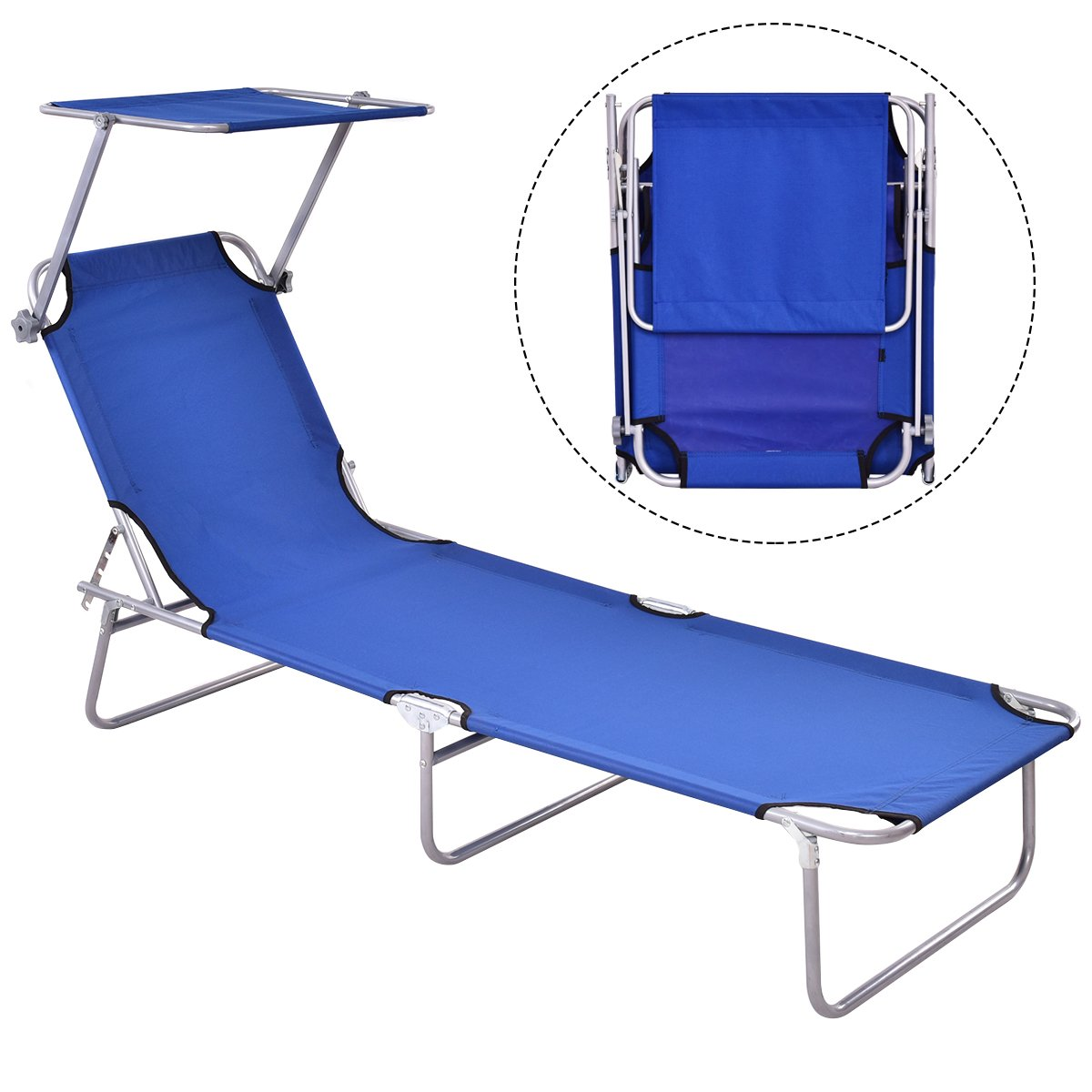 GYMAX Lounge Chair, Folding Recliner Patio Chair for Outdoor Patio Garden Beach Pool with Adjustable Reclining Positions, Sun Shade (Black) (Blue)