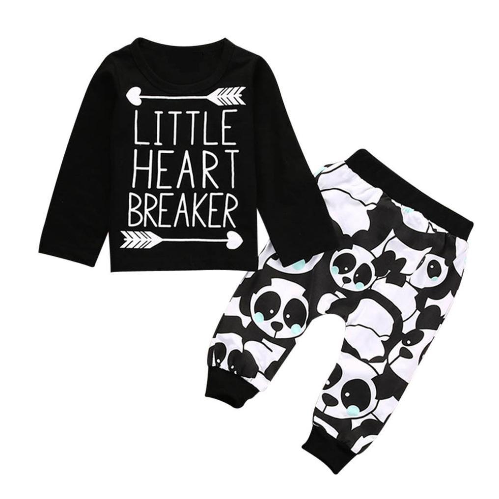 erthome Baby Jungen Langarm Brief Bluse Tops + Hosen Kinder Outfits Kleidung Set Für 0-24 Monate