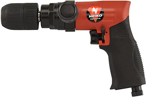 Neiko 30098A Composite Reversible 1 2 Air Drill with Keyless Chuck and Handle, 90 PSI