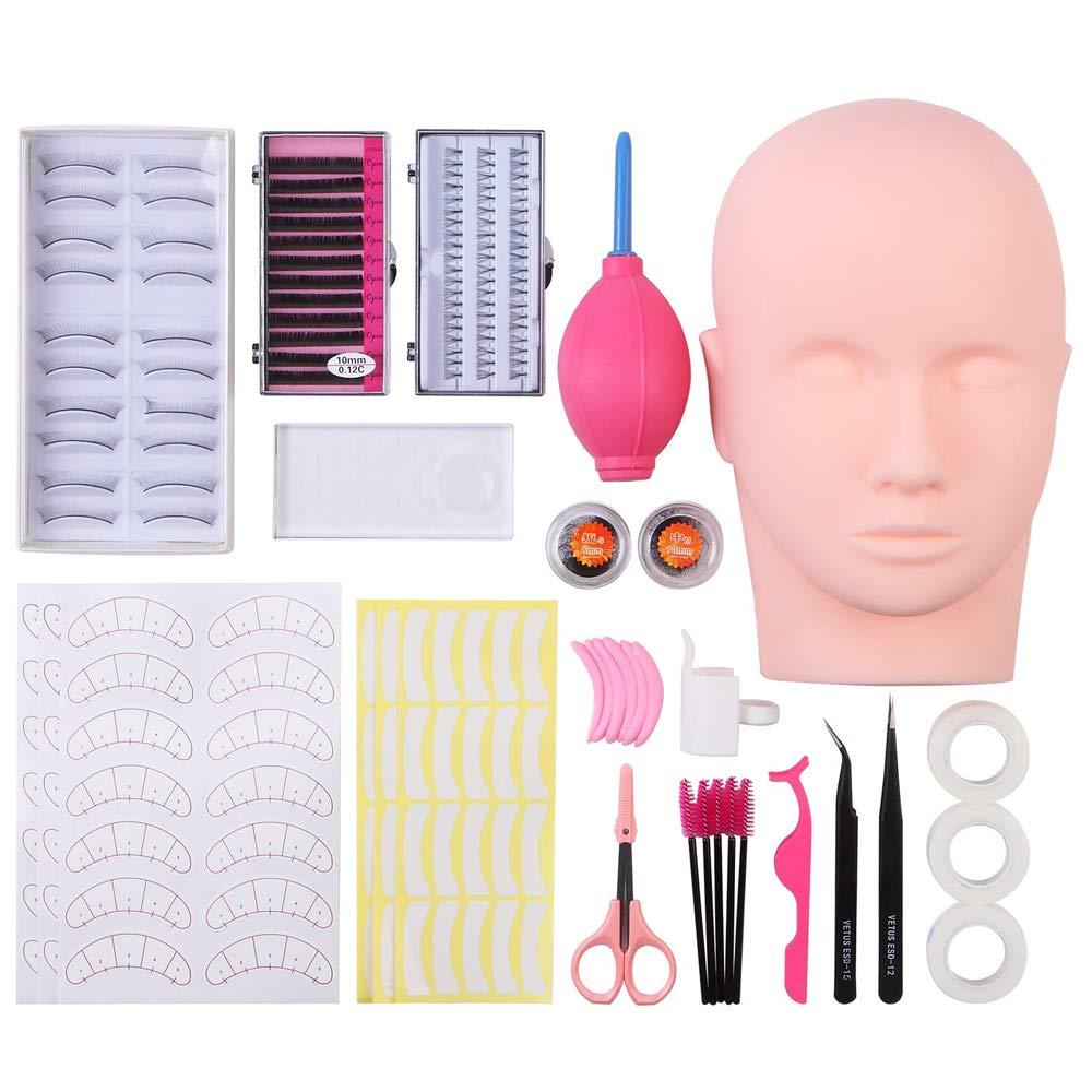 False Eyelashes Extensions Practice Training Mannequin Head Set for Beginners Makeup Training Eyelash Graft (#2)