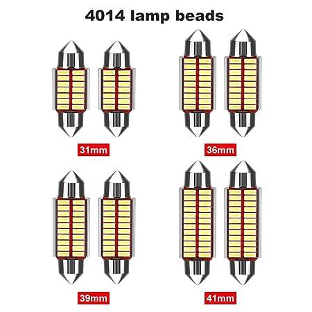 Luces de Mapa luz LED de Lectura para Interior de Coche Gaocunh Bombilla LED para Coche 31MM 2 Unidades sin polaridad luz de Repuesto para matr/ícula