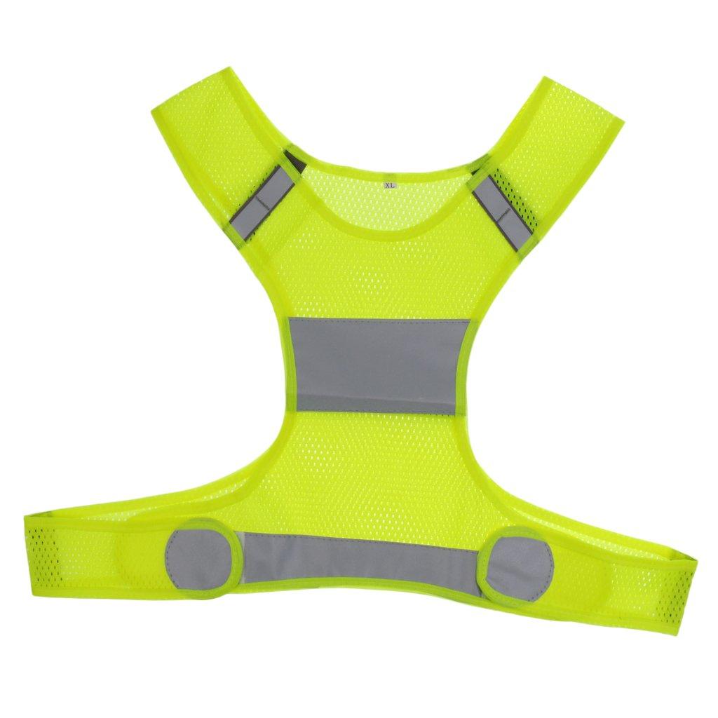 MagiDeal Giacca Gilet alta Visibilità Vest di Sicurezza Riflettente per Esecuzione Ciclismo Jogging Corsa Lavoro Notturno - Fluo Giallo