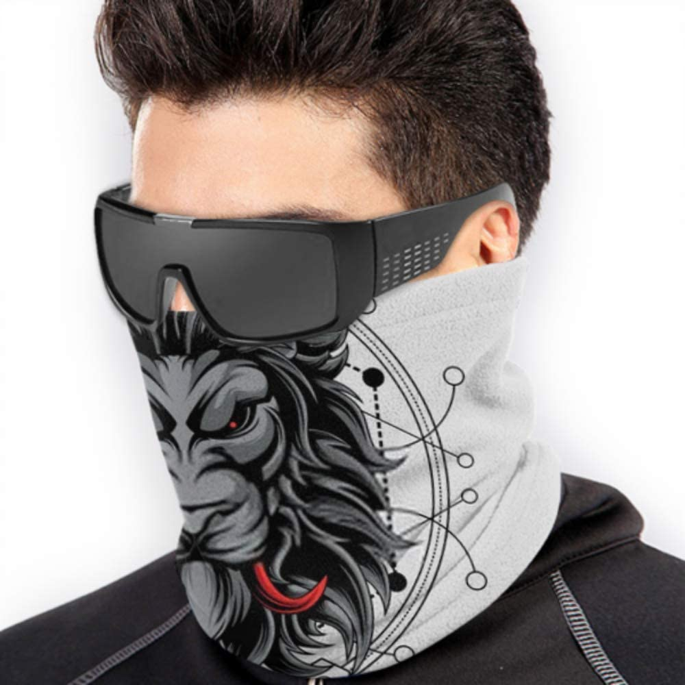Neck Gaiter Neck Cap ,ski Mask Fleece Neck Warmer ,multifunctional Red Fangs Lion Sacred Geometry Scarf,a Full Face Mask Or Hat Half Mask,face Ma