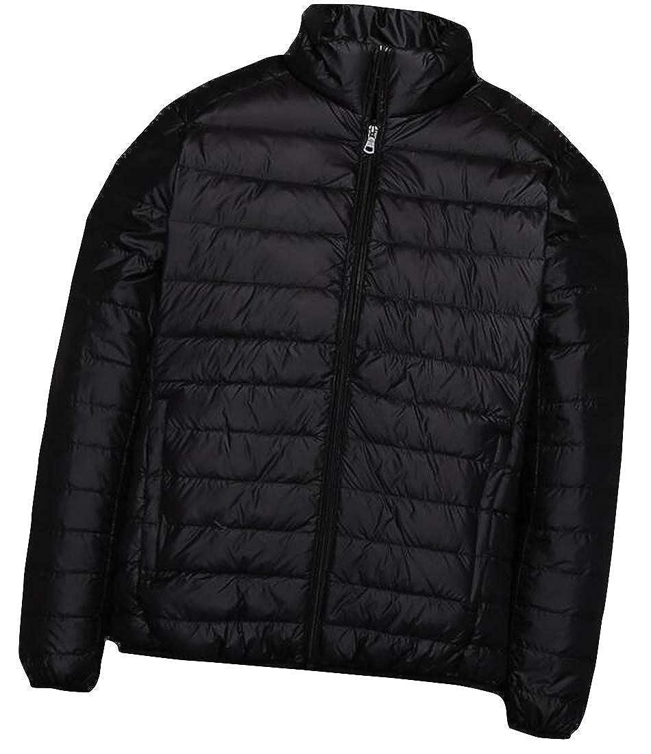 Joe Wenko Mens Lightweight Puffer Stand Collar Zipper Front Packable Down Jackets Coat