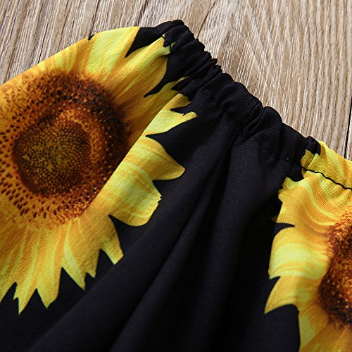Outfit Set,Newborn Baby Girl Sunflower 3PCS Clothes, Off Shoulder Tops+Lace Shorts+Headband Set (18M, Yellow) by Nevera Baby (Image #2)