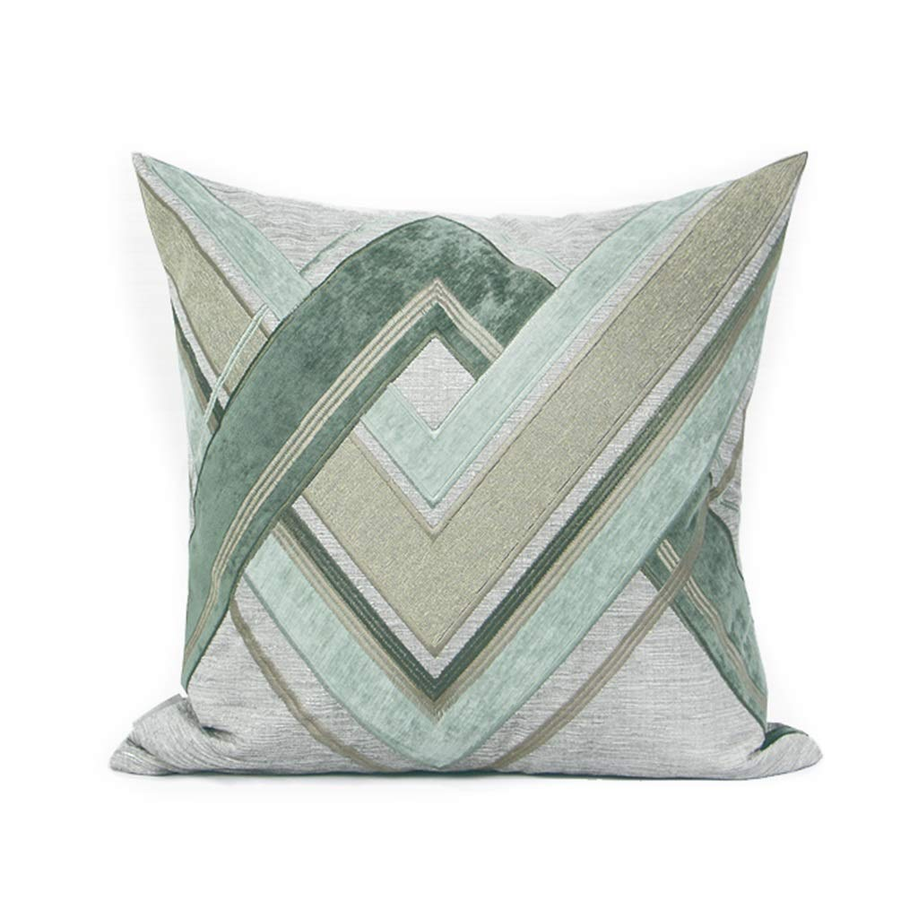 ZDNALS Embroidered Pillow, Green Geometric Home Decoration Rest Pillow 50cm×50cm Pillow (Pattern : A) by ZDNALS