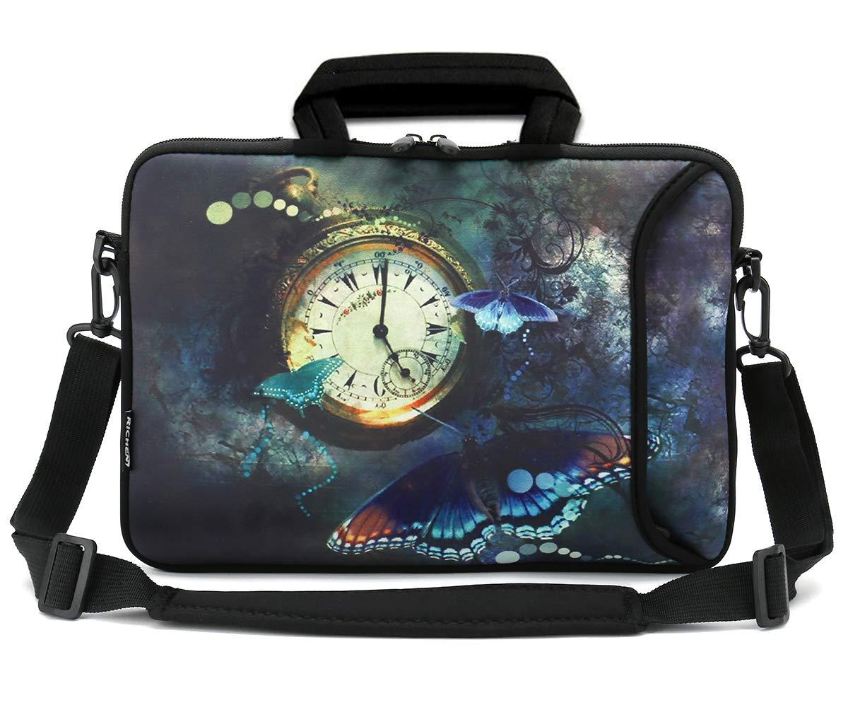 RICHEN 14 15 15.4 15.6 inch Laptop Shoulder Bag Messenger Bag Case Notebook Handle Sleeve Neoprene Soft Carring Tablet Travel Case with Accessories Pocket (Clock & Butterfly)