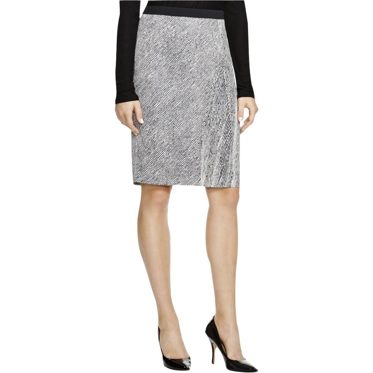 BOSS Hugo Boss Womens Valano Sateen Striped Straight Skirt B/W 8