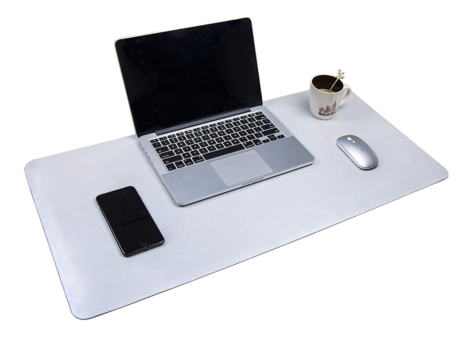 Multifunctional Office Desk Pad, 35.4'' x 17'' YSAGi Ultra Thin Waterproof PU Leather Mouse Pad, Dual Use Desk Writing Mat for Office/Home (35.4'' x 17'', Silver)