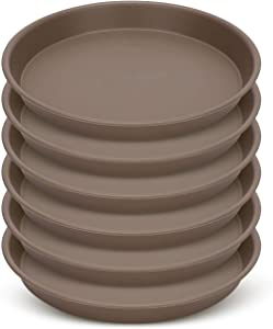 GROWNEER 6 Packs 12 Inches Plant Saucer Drip Trays, Suit for Pots Less Than 10 Inches Bottom Diameter, Round Plastic Plant Pot Saucers Flower Pot Tray for Indoor Outdoor Garden, Brown