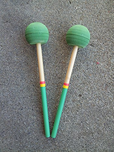 - KaKesa Steel Drum Pan Mallets Sticks Wood Rasta - 6Bass