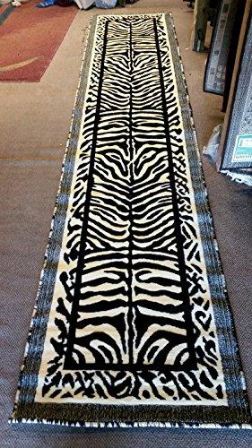 Kingdom Zebra Animal Skin Print Long Runner Rug Black & Off White Design D142 (2 Feet 4 Inch X 10 Feet 11 ()