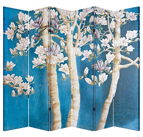 - 6 Panel Office Wood Folding Screen Decorative Canvas Privacy Partition Room Divider - Magnolia Tree