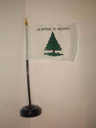 """An Appeal to Heaven Tree With Grass Flag 4/""""x6/"""" Desk Set Table Stick Gold Base"""