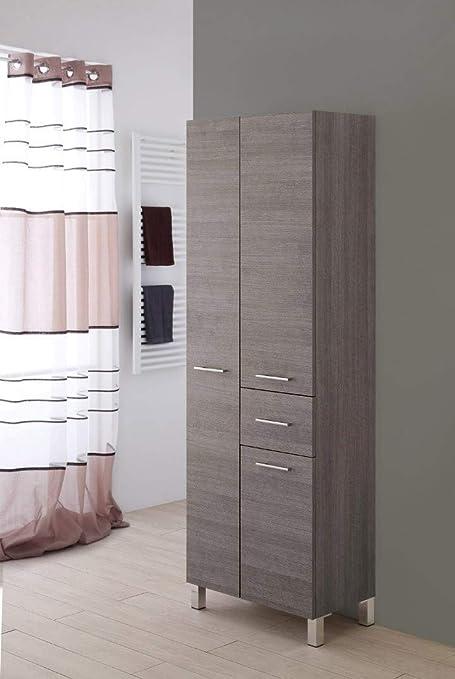 Feridras Colonna Bagno Doppia Portasciugamani 33x60x180 Rovere Scuro Linea Mondo Amazon It Casa E Cucina