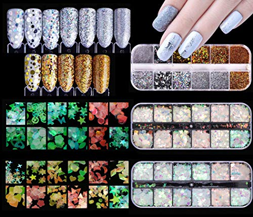 (GOTONE 3Boxes 36Colors Holographic Nail Sequins Shiny Glitter Mix Design Star Moon Paillette Polish Flakes Decorations Manicure Tips DIY Decals Decoration for Face Body Eyes)