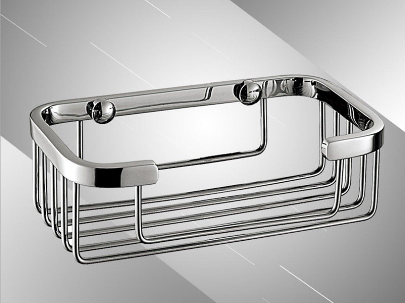 Sucastle,Cuadrado, cesta, estante, simple, acero inoxidable, espejo, cuarto de baño, acero inoxidable,Plata,QWERTY,250*60*60mm