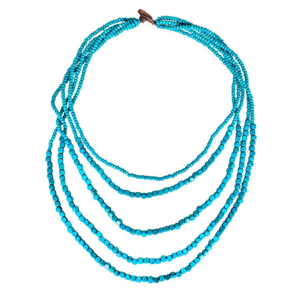 Nawakul Turquoise Handmade Wooden Multi Layered Beaded Long Layer Bead Opera Necklace