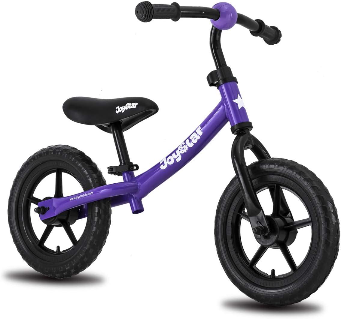 "JOYSTAR 12"" Kids Balance Bike for 1.5-5 Years Old Boys & Girls, Toddler Push Bike with EVA Polymer Foam Tire for Children, 12 inch Kids Glider Bike, Blue Pink Red Yellow"