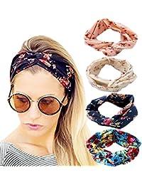 4 Pack Headbands Vintage Elastic Printed Head Wrap Stretchy Moisture Hairband Twisted Cute Hair Accessories