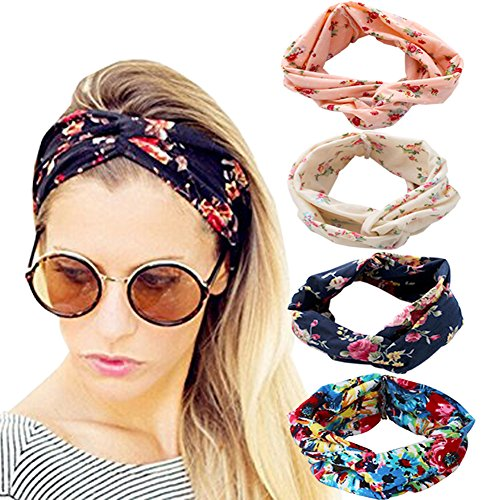 DRESHOW 4 Pack 1950's Vintage Flower Headbands for Women Twist Elastic Turban Headband Head Wraps Cute Hair Band -