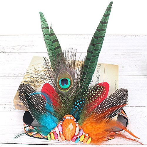 Indian Peacock Feather Hippie Headdress Feather Headpiece for Women Halloween Costume Carnival Fancy Party]()